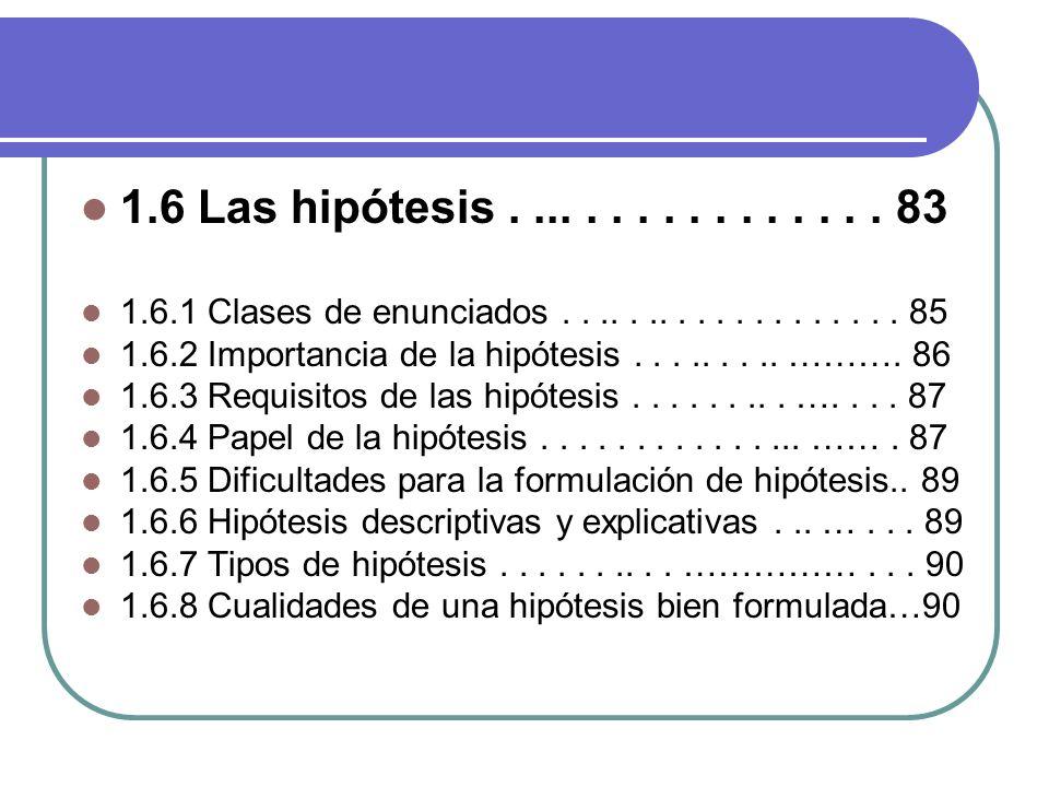 1.6 Las hipótesis................ 83 1.6.1 Clases de enunciados................... 85 1.6.2 Importancia de la hipótesis......... ………. 86 1.6.3 Requisi