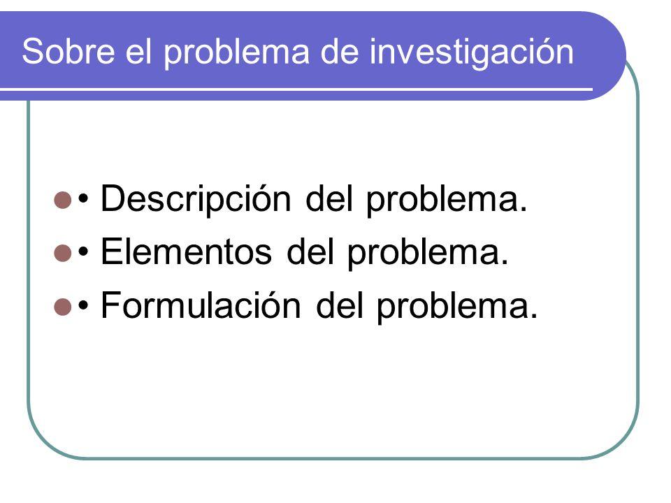 Sobre el problema de investigación Descripción del problema. Elementos del problema. Formulación del problema.