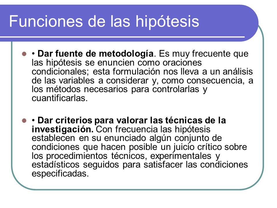 Funciones de las hipótesis Dar fuente de metodología. Es muy frecuente que las hipótesis se enuncien como oraciones condicionales; esta formulación no