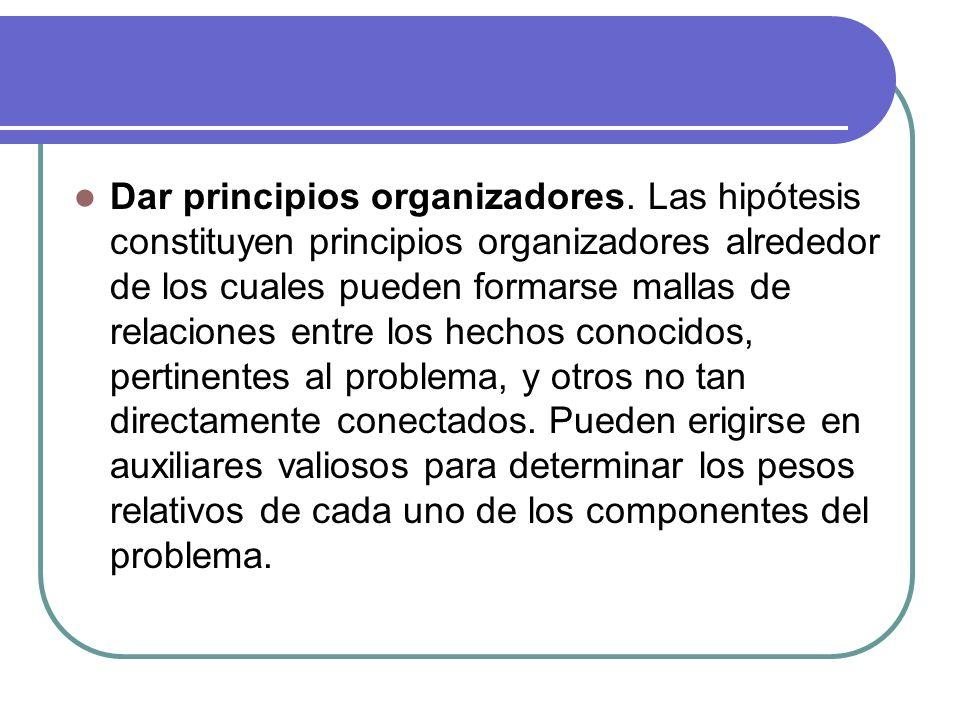 Dar principios organizadores. Las hipótesis constituyen principios organizadores alrededor de los cuales pueden formarse mallas de relaciones entre lo