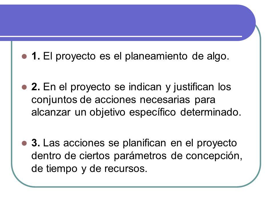 1. El proyecto es el planeamiento de algo. 2. En el proyecto se indican y justifican los conjuntos de acciones necesarias para alcanzar un objetivo es