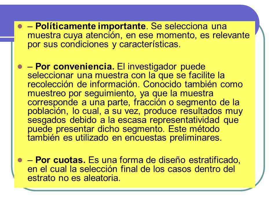 – Políticamente importante. Se selecciona una muestra cuya atención, en ese momento, es relevante por sus condiciones y características. – Por conveni