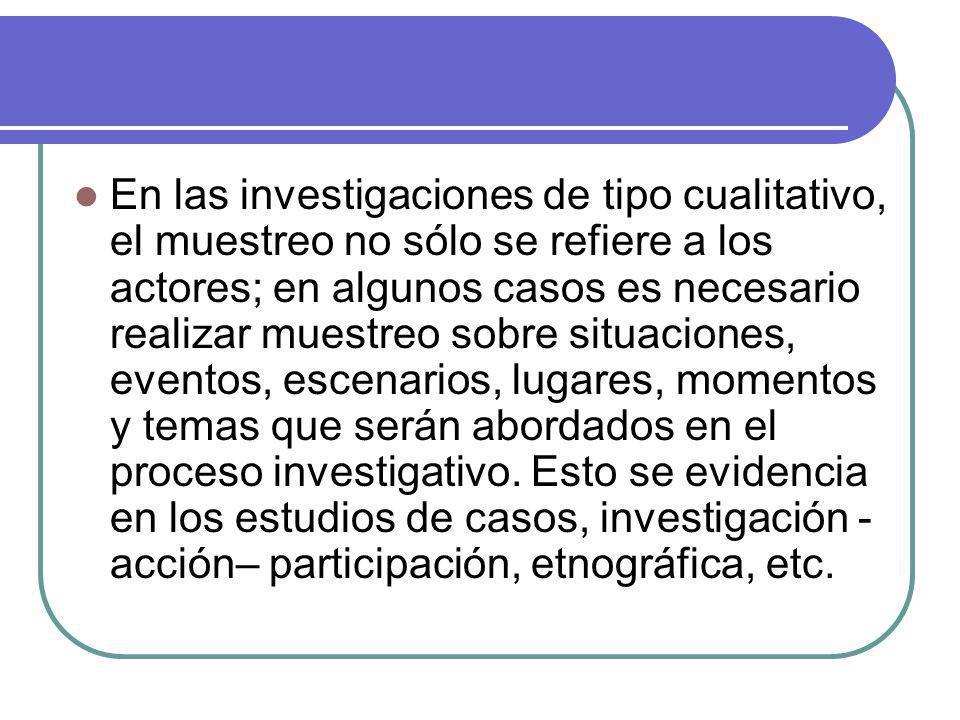 En las investigaciones de tipo cualitativo, el muestreo no sólo se refiere a los actores; en algunos casos es necesario realizar muestreo sobre situac