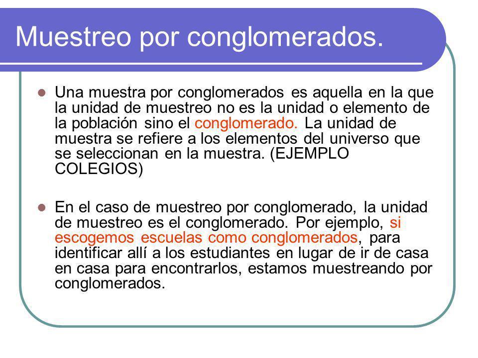 Muestreo por conglomerados. Una muestra por conglomerados es aquella en la que la unidad de muestreo no es la unidad o elemento de la población sino e