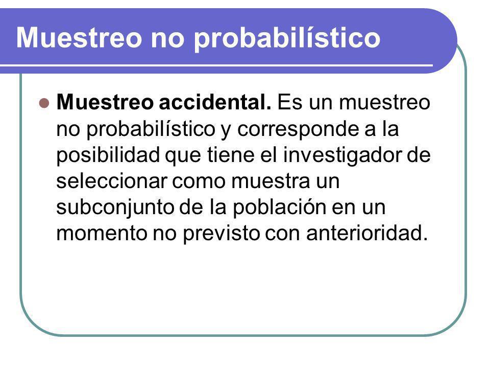 Muestreo no probabilístico Muestreo accidental. Es un muestreo no probabilístico y corresponde a la posibilidad que tiene el investigador de seleccion