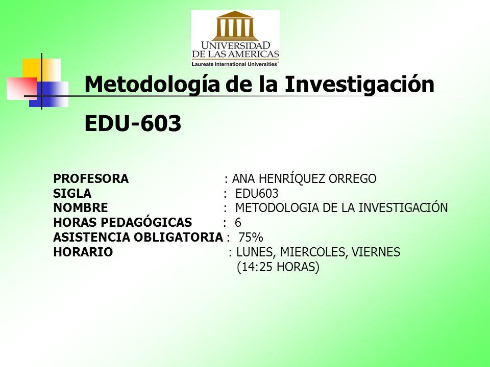 Metodología de la Investigación EDU-603 PROFESORA : ANA HENRÍQUEZ ORREGO SIGLA : EDU603 NOMBRE : METODOLOGIA DE LA INVESTIGACIÓN HORAS PEDAGÓGICAS : 6