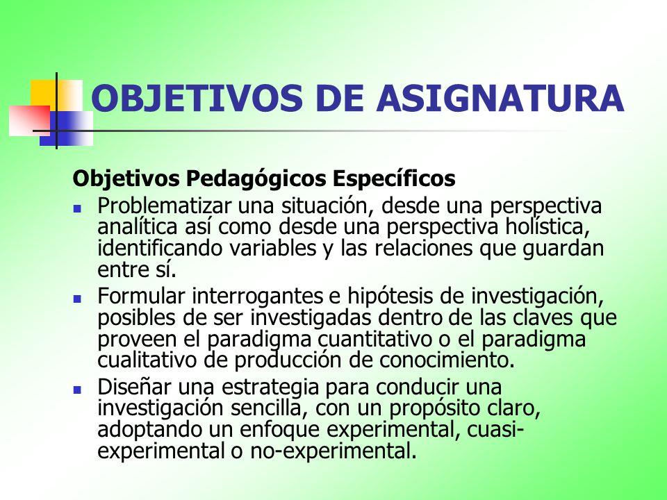 OBJETIVOS DE ASIGNATURA Objetivos Pedagógicos Específicos Problematizar una situación, desde una perspectiva analítica así como desde una perspectiva