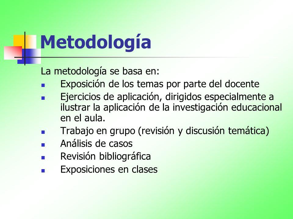Metodología La metodología se basa en: Exposición de los temas por parte del docente Ejercicios de aplicación, dirigidos especialmente a ilustrar la a