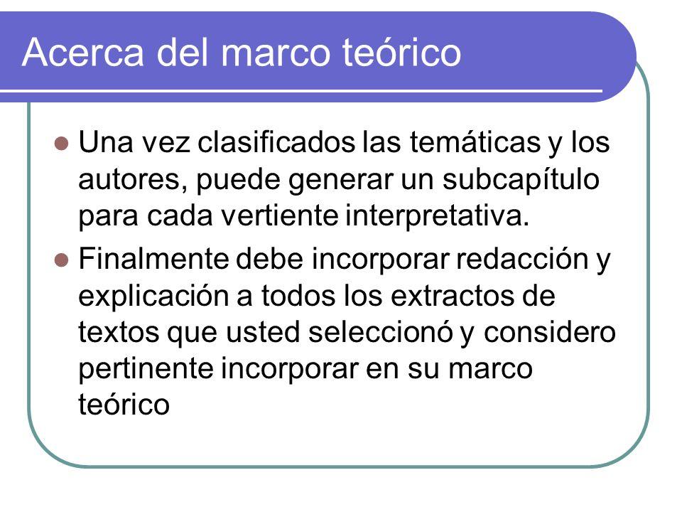 Acerca del marco teórico Una vez clasificados las temáticas y los autores, puede generar un subcapítulo para cada vertiente interpretativa.