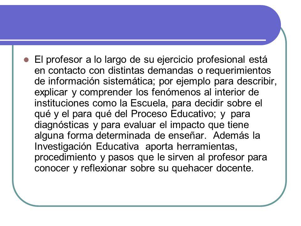El profesor a lo largo de su ejercicio profesional está en contacto con distintas demandas o requerimientos de información sistemática; por ejemplo pa