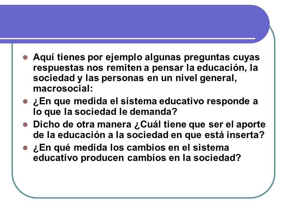 Aquí tienes por ejemplo algunas preguntas cuyas respuestas nos remiten a pensar la educación, la sociedad y las personas en un nivel general, macrosoc
