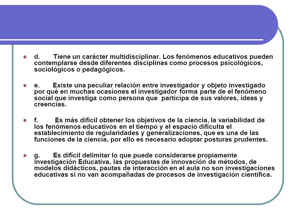 ASPECTOS A CONSIDERAR EN LAS INESTIGACIONES DE CARÁCTER EDUCATIVO