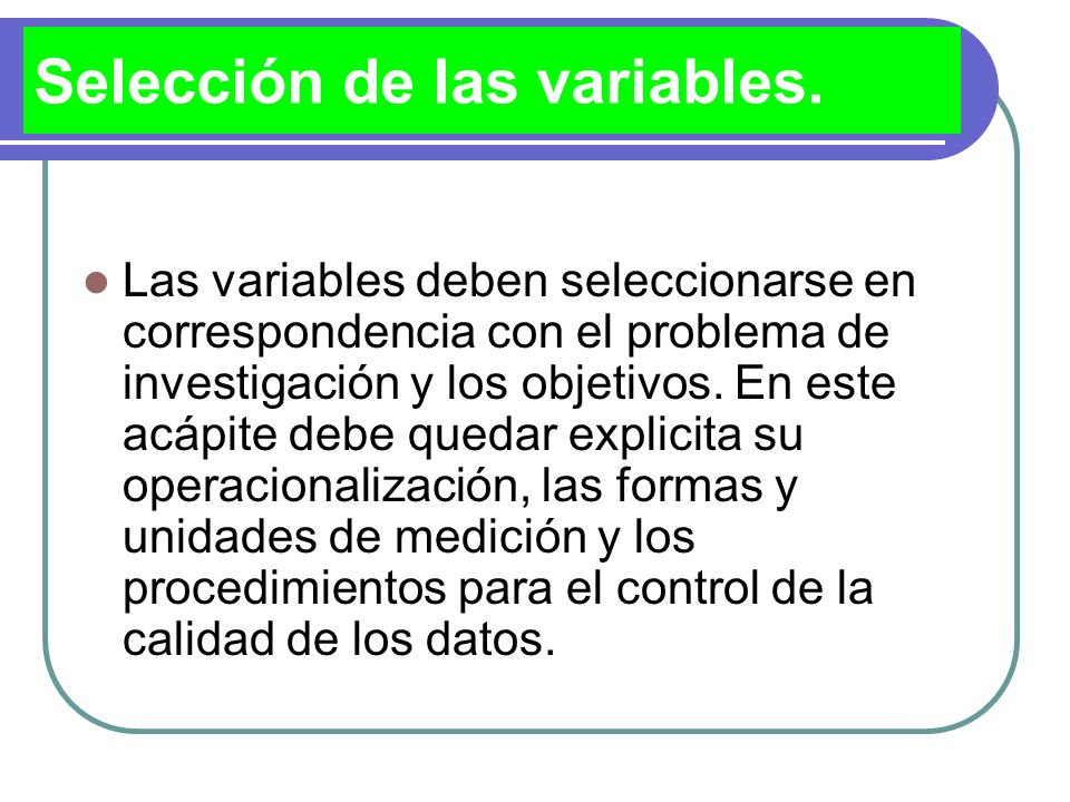 Selección de las variables.
