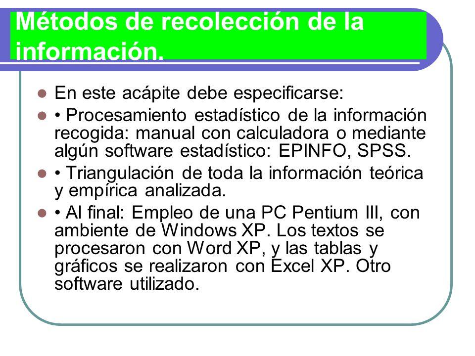 Métodos de recolección de la información.