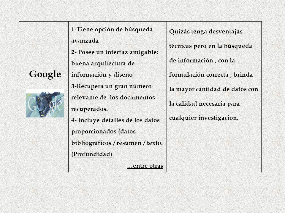 Google 1-Tiene opción de búsqueda avanzada 2- Posee un interfaz amigable: buena arquitectura de información y diseño 3-Recupera un gran número relevan
