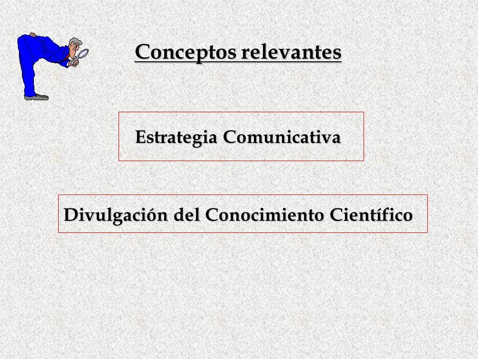 Conceptos relevantes Estrategia Comunicativa Divulgación del Conocimiento Científico