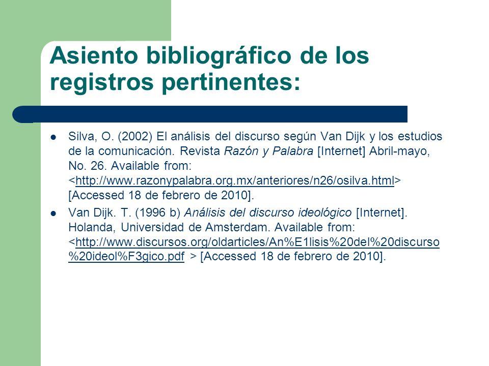 Asiento bibliográfico de los registros pertinentes: Van Dijk, T.