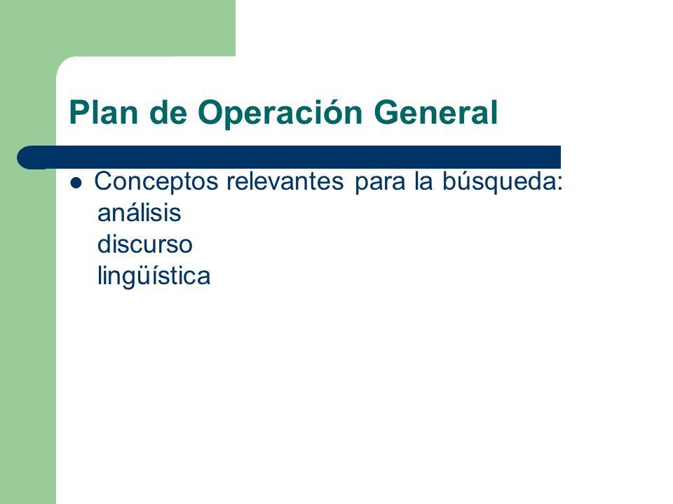 Plan de Operación General Fuentes de información: Metabuscador: IBoogie Permite realizar una búsqueda de mayor amplitud y de manera simultánea en diferentes bases de datos correspondientes a varios buscadores, con la ventaja de no repetir registros.