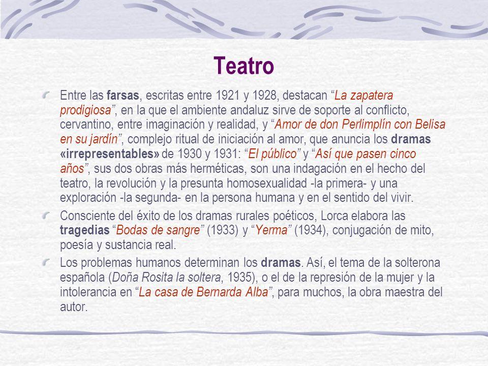 Teatro Entre las farsas, escritas entre 1921 y 1928, destacan La zapatera prodigiosa, en la que el ambiente andaluz sirve de soporte al conflicto, cer