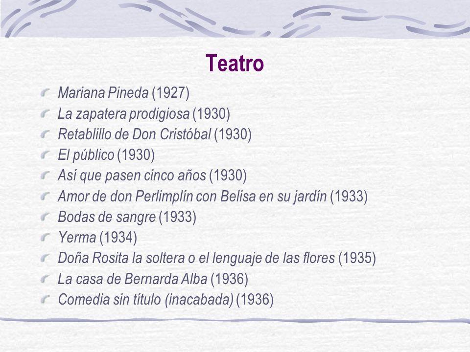 Teatro Mariana Pineda (1927) La zapatera prodigiosa (1930) Retablillo de Don Cristóbal (1930) El público (1930) Así que pasen cinco años (1930) Amor d