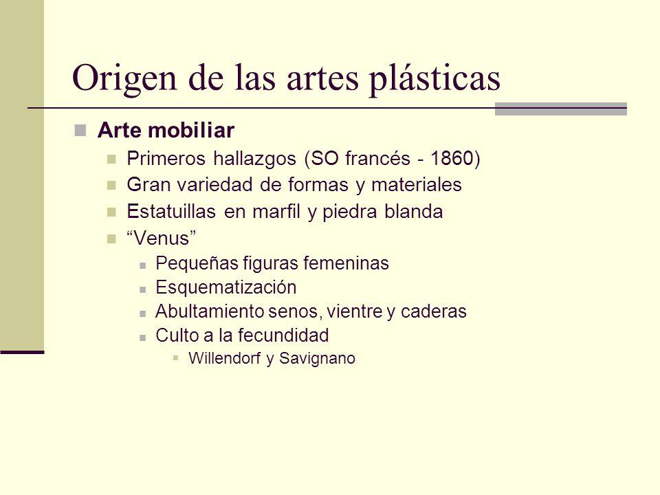 Origen de las artes plásticas Arte mobiliar Primeros hallazgos (SO francés - 1860) Gran variedad de formas y materiales Estatuillas en marfil y piedra