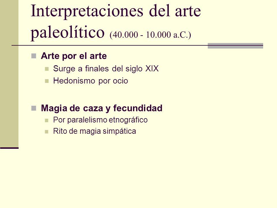 Interpretaciones del arte paleolítico (40.000 - 10.000 a.C.) Arte por el arte Surge a finales del siglo XIX Hedonismo por ocio Magia de caza y fecundi