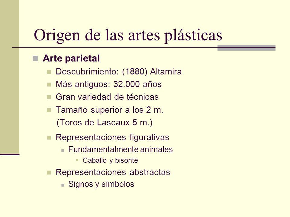 Origen de las artes plásticas Arte parietal Descubrimiento: (1880) Altamira Más antiguos: 32.000 años Gran variedad de técnicas Tamaño superior a los