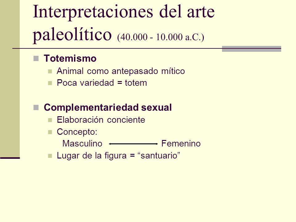 Interpretaciones del arte paleolítico (40.000 - 10.000 a.C.) Totemismo Animal como antepasado mítico Poca variedad = totem Complementariedad sexual El