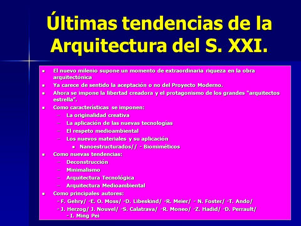 Últimas tendencias de la Arquitectura del S. XXI. El nuevo milenio supone un momento de extraordinaria riqueza en la obra arquitectónica El nuevo mile