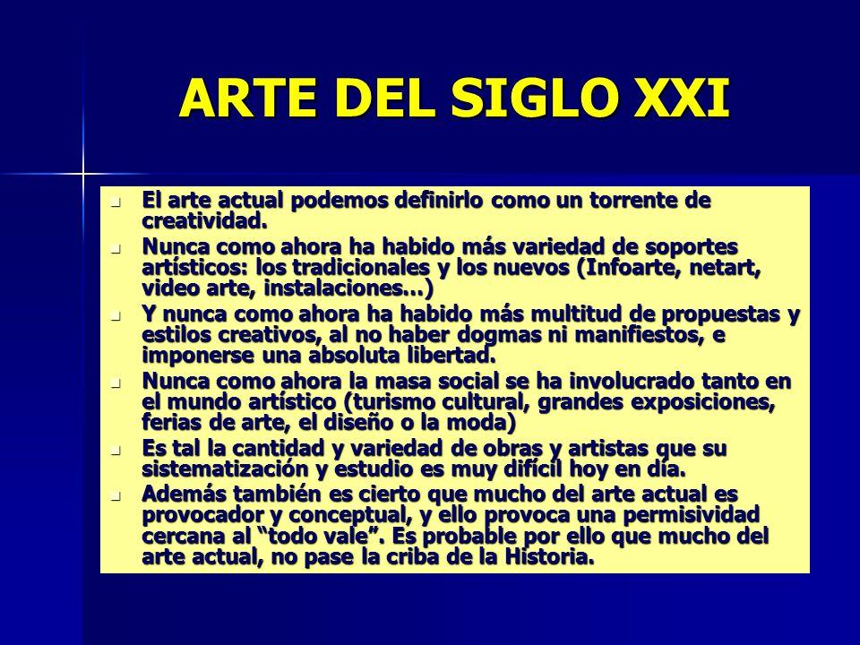 ARTE DEL SIGLO XXI El arte actual podemos definirlo como un torrente de creatividad. El arte actual podemos definirlo como un torrente de creatividad.
