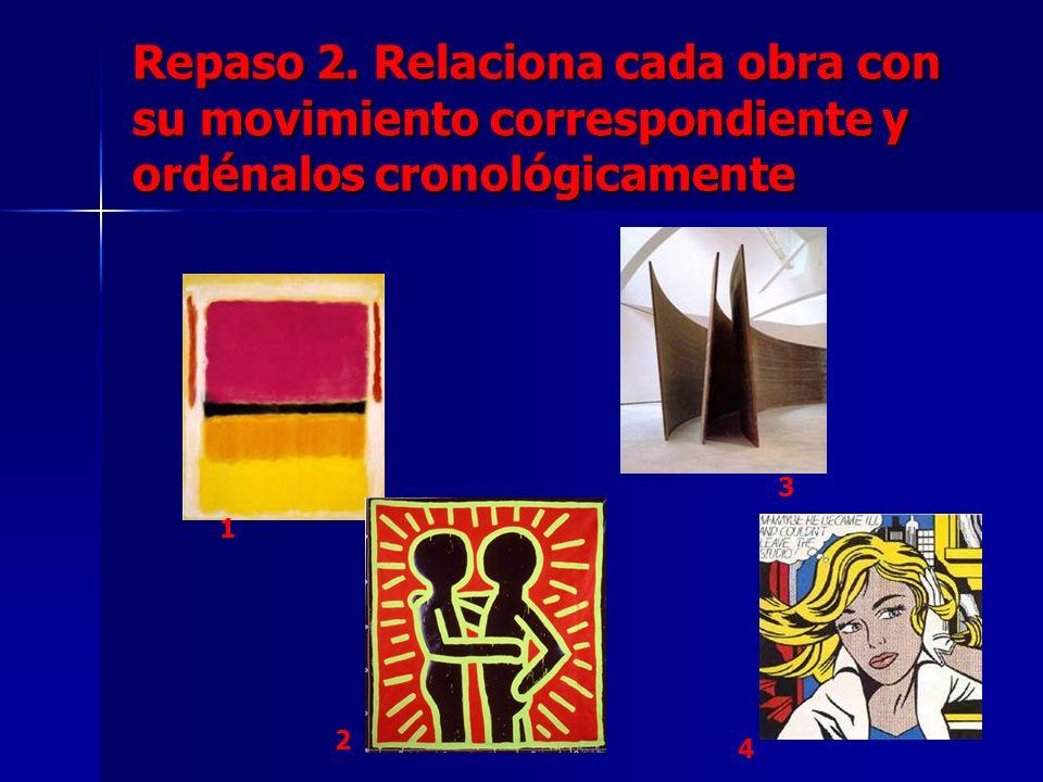 Repaso 2. Relaciona cada obra con su movimiento correspondiente y ordénalos cronológicamente 1 2 3 4