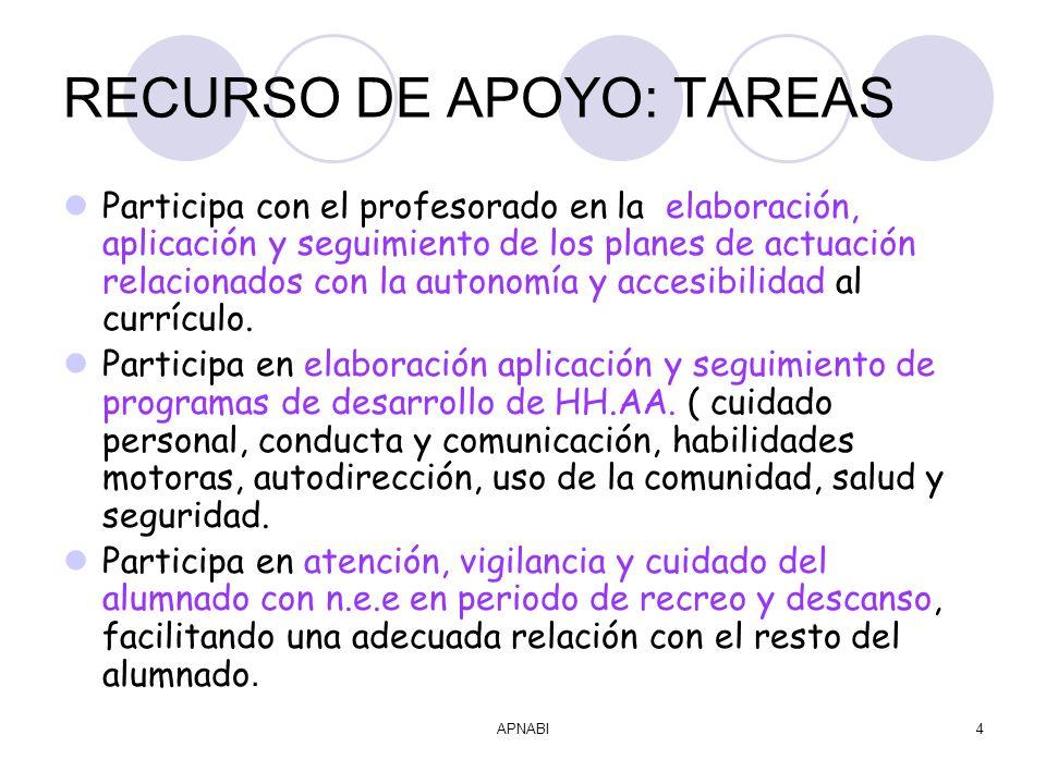 APNABI4 RECURSO DE APOYO: TAREAS Participa con el profesorado en la elaboración, aplicación y seguimiento de los planes de actuación relacionados con la autonomía y accesibilidad al currículo.