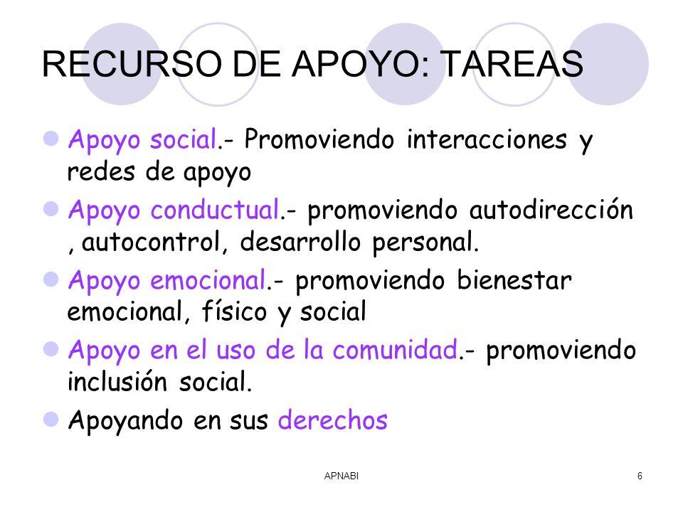 APNABI6 RECURSO DE APOYO: TAREAS Apoyo social.- Promoviendo interacciones y redes de apoyo Apoyo conductual.- promoviendo autodirección, autocontrol, desarrollo personal.