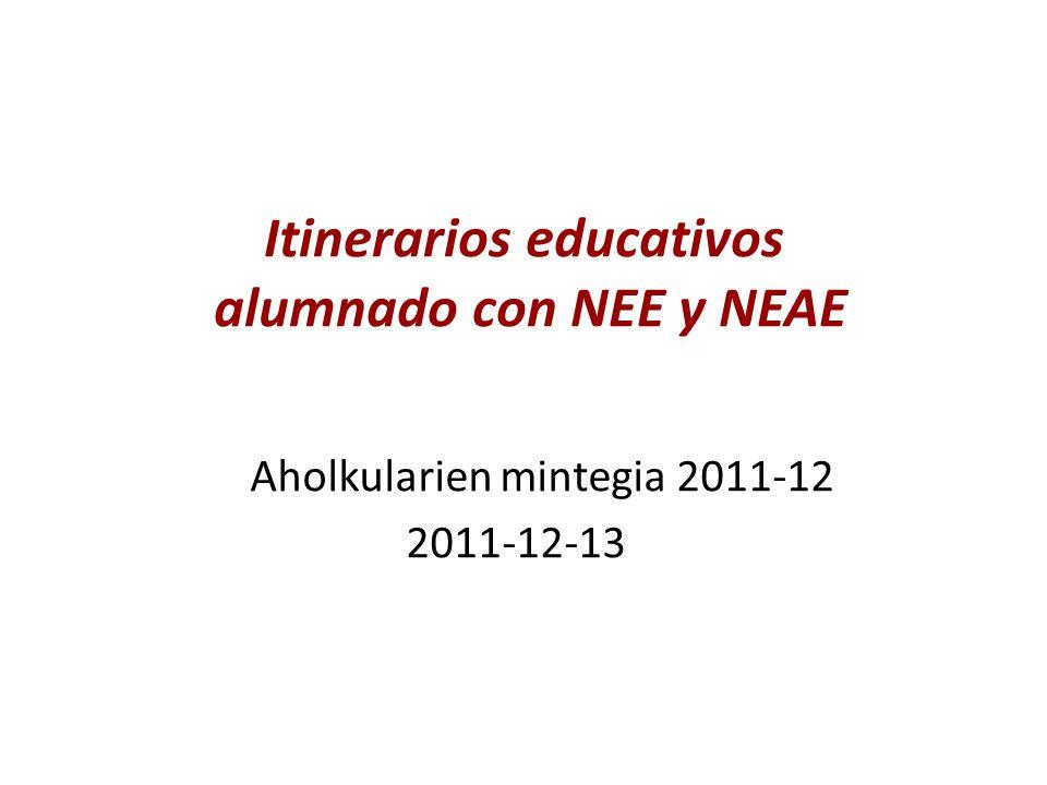 Itinerarios educativos alumnado con NEE y NEAE Aholkularien mintegia 2011-12 2011-12-13
