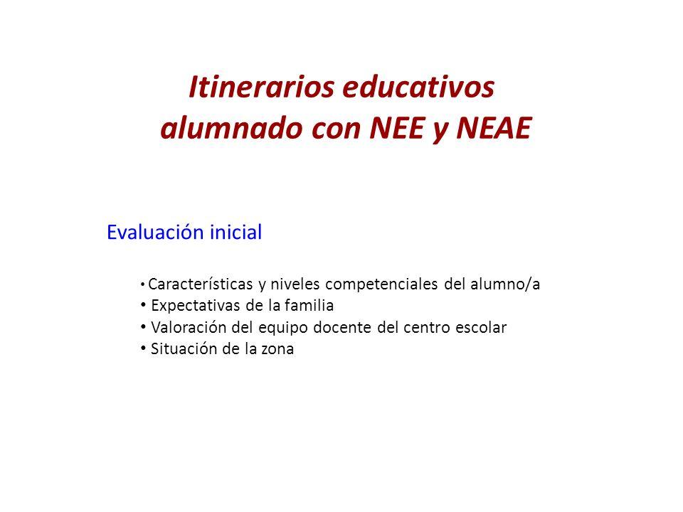 Itinerarios educativos alumnado con NEE y NEAE Evaluación inicial Características y niveles competenciales del alumno/a Expectativas de la familia Val