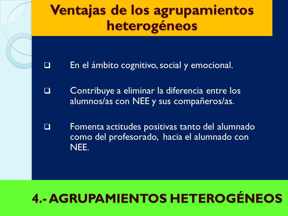 4.- AGRUPAMIENTOS HETEROGÉNEOS A grupación de alumnos/as de la misma edad. La base del concepto de grupo con varios niveles es evitar los guetos y res