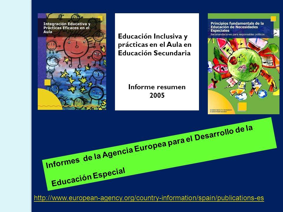 Informes de la Agencia Europea para el Desarrollo de la Educación Especial http://www.european-agency.org/country-information/spain/publications-es Educación Inclusiva y prácticas en el Aula en Educación Secundaria Informe resumen 2005