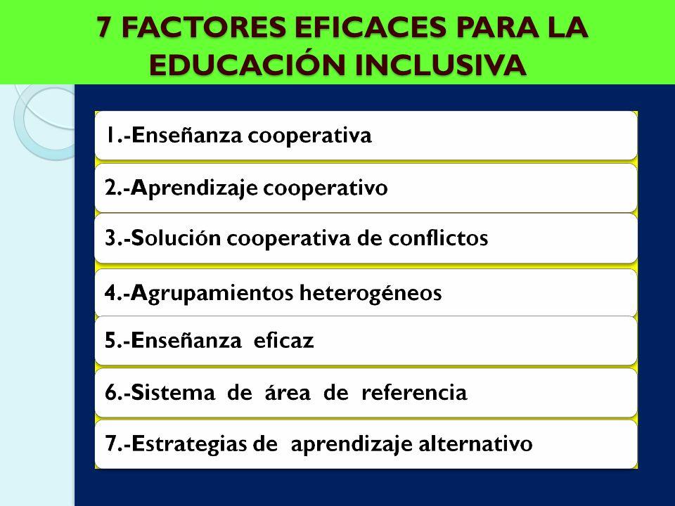 7 FACTORES EFICACES PARA LA EDUCACIÓN INCLUSIVA 7 FACTORES EFICACES PARA LA EDUCACIÓN INCLUSIVA