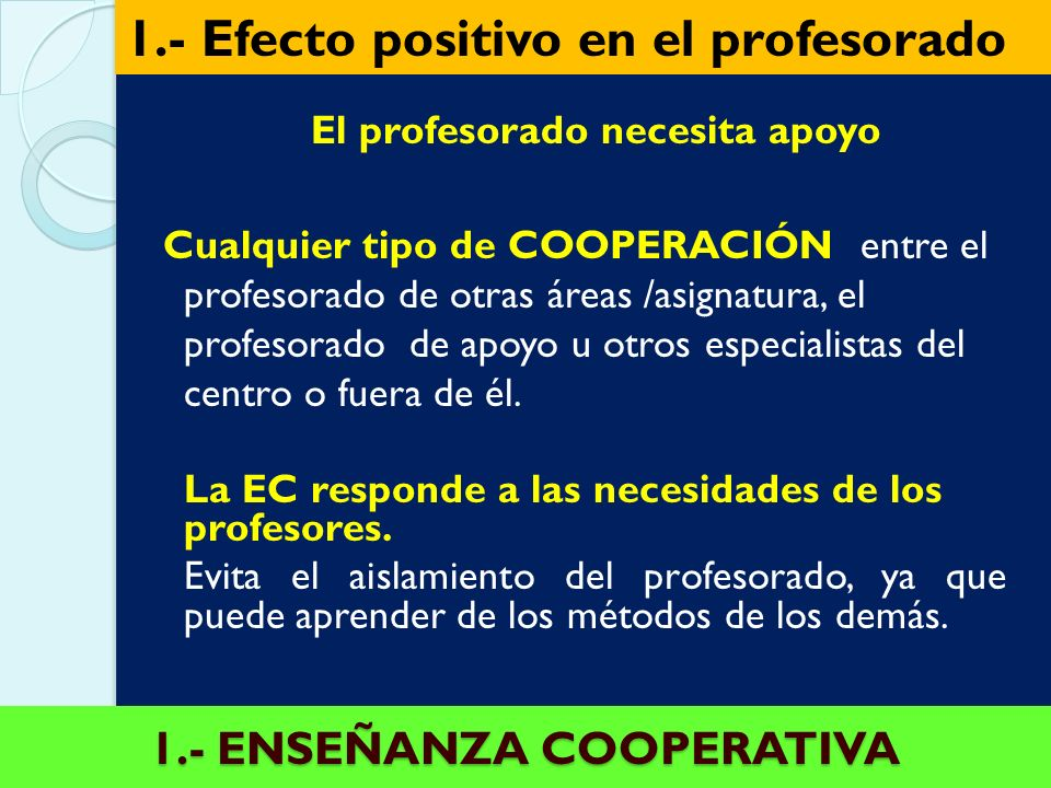 1.- ENSEÑANZA COOPERATIVA El profesorado necesita apoyo Cualquier tipo de COOPERACIÓN entre el profesorado de otras áreas /asignatura, el profesorado de apoyo u otros especialistas del centro o fuera de él.