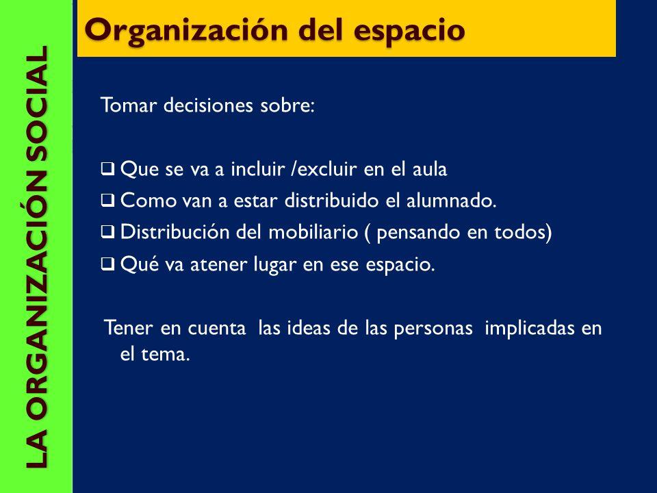 CONSTRUIR LA ORGANIZACIÓN SOCIAL DEL AULA ¿ Cómo damos orden y estructura al A.O ? La organización del espacio La organización del tiempo La organizac
