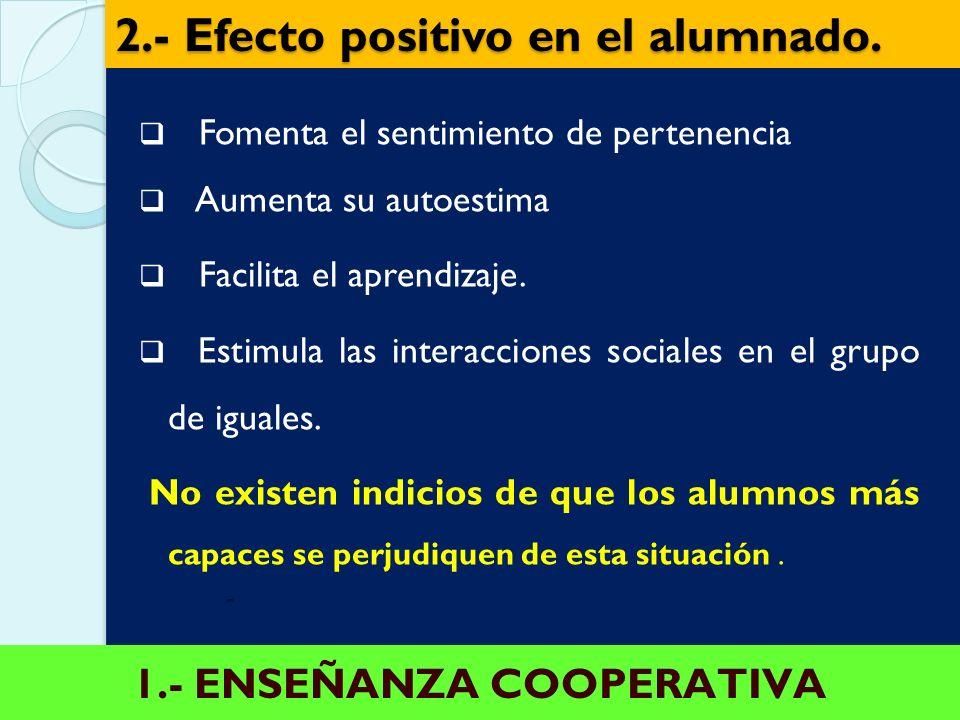 1.- ENSEÑANZA COOPERATIVA El profesorado necesita apoyo Cualquier tipo de COOPERACIÓN entre el profesorado de otras áreas /asignatura, el profesorado