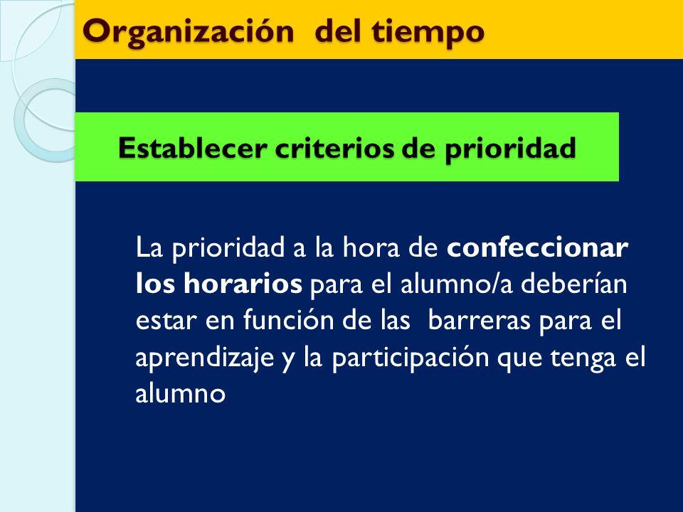 Organización del tiempo Como se va a distribuir el tiempo escolar: diferenciar el que viene impuesto por la Institución del tiempo propio de la clase