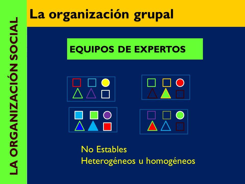 EQUIPOS DE BASE: elemento fundamental del Apr. cooperativo Estables durante un tiempo Composición heterogéneo LA ORGANIZACIÓN SOCIAL LA ORGANIZACIÓN S
