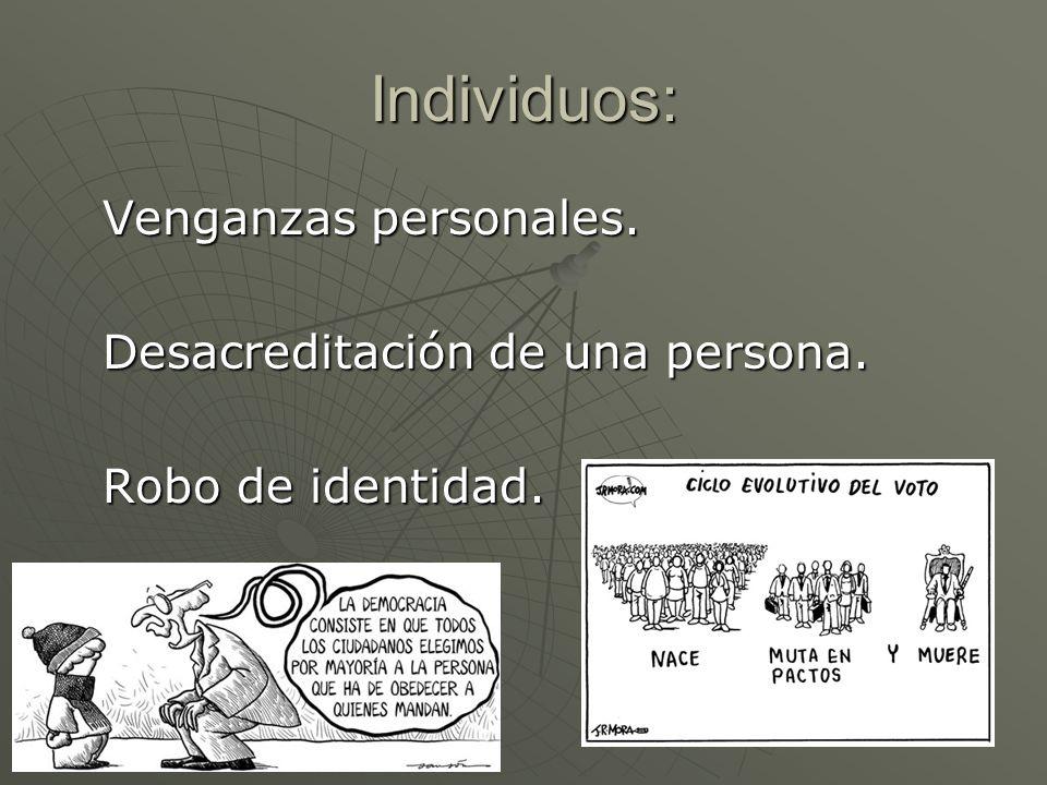 Individuos: Venganzas personales. Desacreditación de una persona. Robo de identidad.