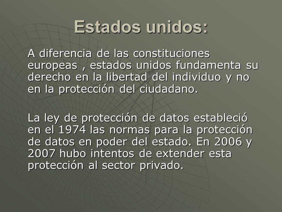 Estados unidos: A diferencia de las constituciones europeas, estados unidos fundamenta su derecho en la libertad del individuo y no en la protección d