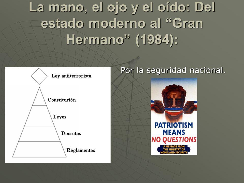 La mano, el ojo y el oído: Del estado moderno al Gran Hermano (1984): Por la seguridad nacional.