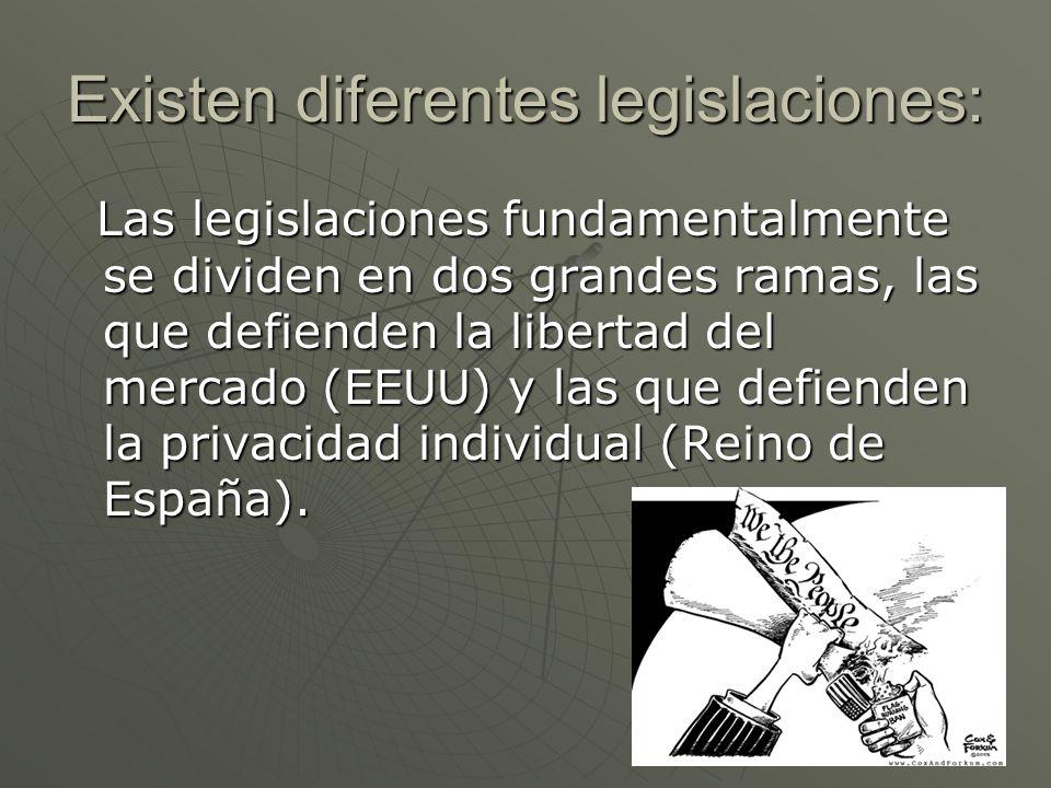 Existen diferentes legislaciones: Las legislaciones fundamentalmente se dividen en dos grandes ramas, las que defienden la libertad del mercado (EEUU)