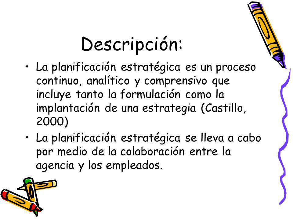 Descripción: La planificación estratégica es un proceso continuo, analítico y comprensivo que incluye tanto la formulación como la implantación de una estrategia (Castillo, 2000) La planificación estratégica se lleva a cabo por medio de la colaboración entre la agencia y los empleados.