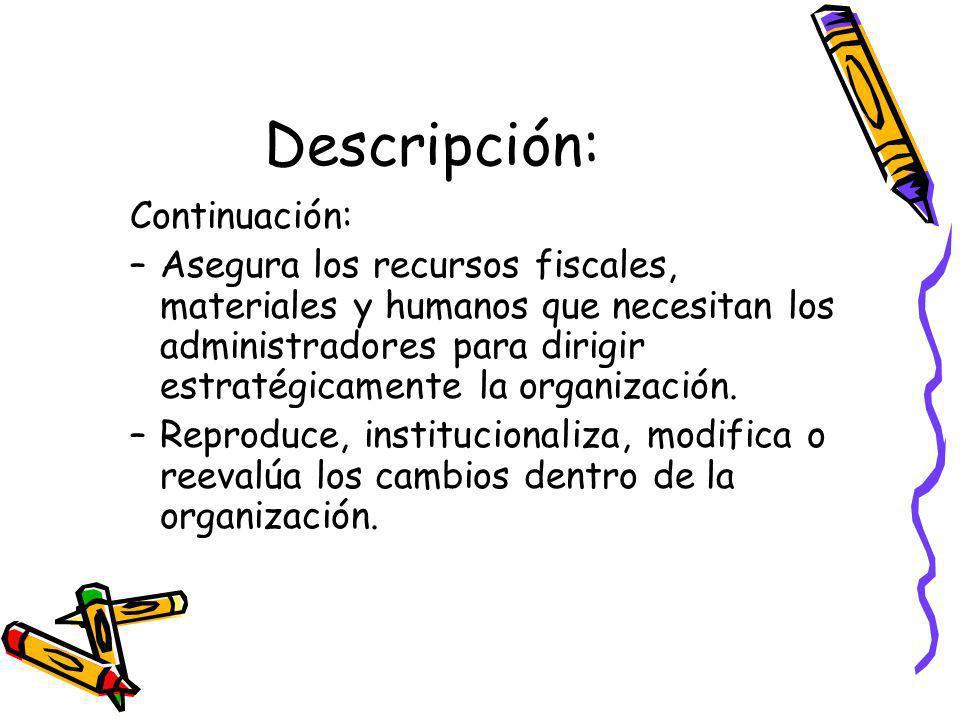 Descripción: Continuación: –Asegura los recursos fiscales, materiales y humanos que necesitan los administradores para dirigir estratégicamente la organización.