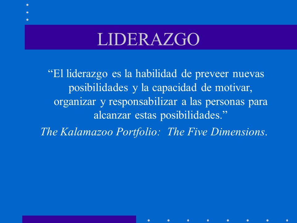 LIDERAZGO El liderazgo es la habilidad de preveer nuevas posibilidades y la capacidad de motivar, organizar y responsabilizar a las personas para alca
